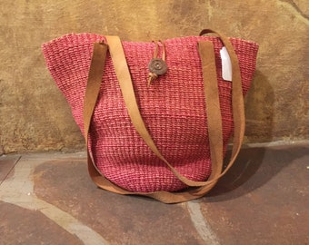 Pink jute and leather sisal market tote woven bag
