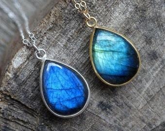Labradorite necklace, sterling silver, 14k gold filled, blue green labradorite pendant, crystal pendant, boho jewelry, drop necklace