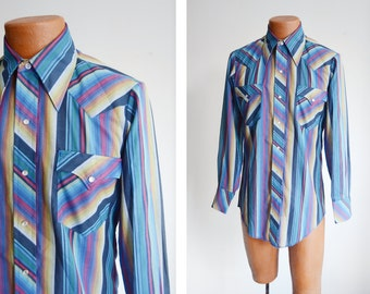 """1970s Blue Striped Western Shirt - 40"""" Chest"""