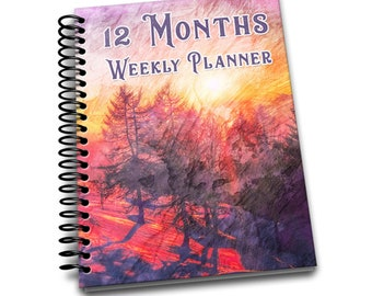 12 Months Weekly Planner: Undated Weekly Planner | 2 pages per week | Notes | Abstract Art