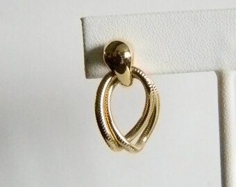 Shiny Gold Tone Textured Dangles Pierced Earrings