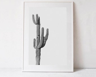 Cactus PRINTABLE Art, Cactus Print, Modern Wall Art Print, Black and White Photography, Living Room Art, Modern Decor DOWNLOADABLE PRINT Art