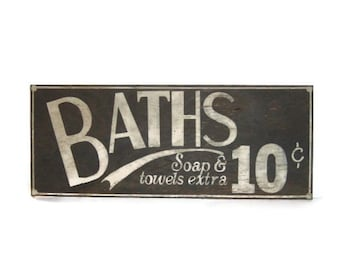 Rustic Bathroom sign....Bath for 10 cents/bathroom decor/distressed sign