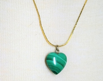 30% Off Sale Malachite Small Heart Pendant Necklace on Gold Tone Chain Vintage