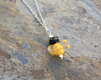 Bumble Bee Necklace, Bumble Bee on Silver Chain, choose 16, 18 or 20 inch