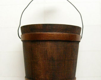 "Wood Bucket - Rustic bucket, autumn decor, fall wedding, winter wedding party favor, 3"" high copper bucket, 18"" doll accessory"