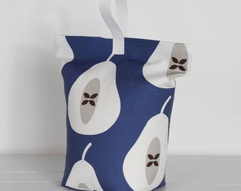 Indigo Blue  Pear Print Modern Doorstop Scandi Fabric Doorstopper Door Stop Fruit Print