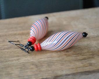 ELongated Striped Earrings, Red, White & Black Earrings, Hollow Blown Glass, Light Weight Earrings,