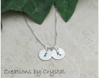 Small Sterling Hand Stamped Initial Necklace