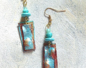 Copper turquoise dangles upcycled artist palette in autumn colors