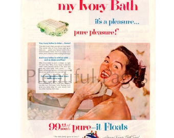 1953 Ivory Soap Vintage Ad, 1950's Housewife, 1950's Bath, Retro Beauty, Retro Ad, 1950's Ivory Ad, Procter & Gamble, 1950's Beauty.