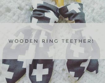 Wooden ring teether- white cross print