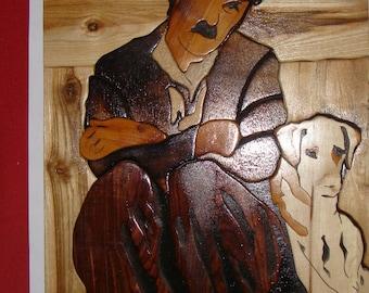Charlie Chaplin and his dog intarsia wood