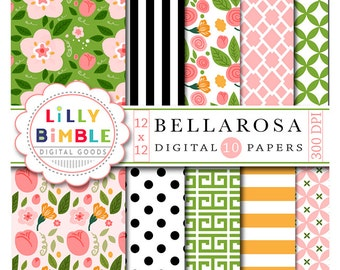 Floral digital scrapbook papers with roses, flowers, buds, leaves modern paper pack Bellarosa INSTANT DOWNLOAD