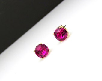 bridesmaid gift earrings wedding christmas prom bridal Swarovski fuchsia hot pink magenta round crystal rhinestone stud post 8mm earrings