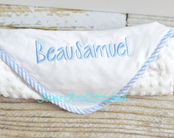 Personalized baby Boy Minky Dot Blanket with blue gingham piping, Minky baby blanket Monogrammed, Personalized blanket monogrammed baby boy