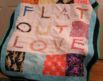 Flat Out  Love Applique Baby Quilt