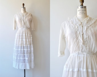 April Cottage dress | 1910s cotton dress | white Edwardian tea dress