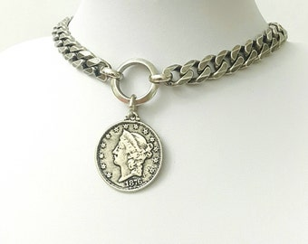 Silver unique wide link loop Chain Choker gift for womens,hoop coin Medal large Pendant Necklace boho gothic fashion nacklace for herMedal