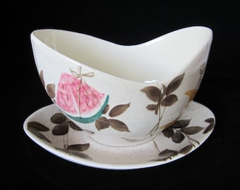 TAMPICO RED WING Gravy Boat with Attached Underplate Hand Painted