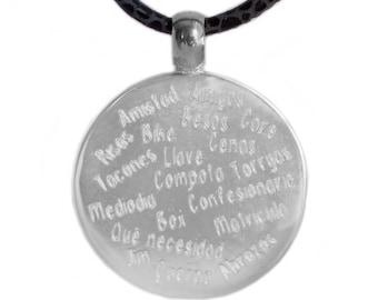 Silver necklace, customizable, with Italian Napa. CAPRI-Handmade Pendant