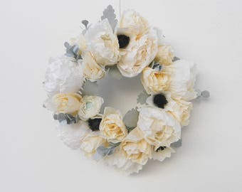 white paper flower wreath