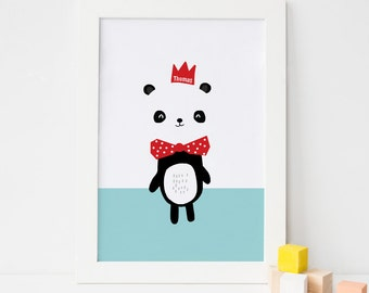 Personalised Panda Children's Nursery Art Print