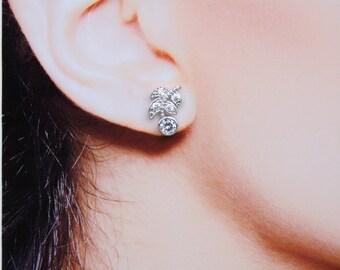 Bridal Earrings  Cubic Zirconia Tiny Stud Earrings Laurel Leaf Earrings Best Gift For Her