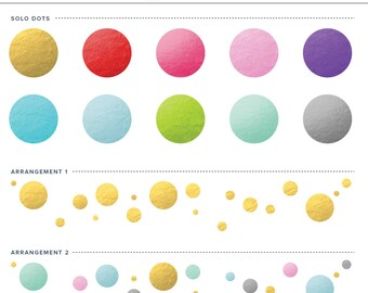 Foil Dots 12 Piece Clipart Set - For Personal and Commercial Use - INSTANT DOWNLOAD