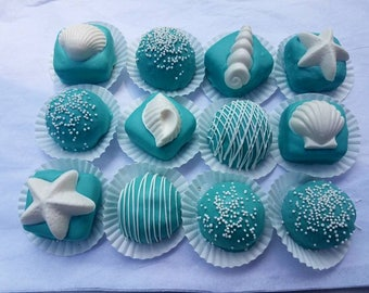 Cake Balls: Beach Themed Cakes. Bitty Bites. Weddings. party favors. Beach lovers. Seashells. Birthday gift. cake pop. hostess gift.