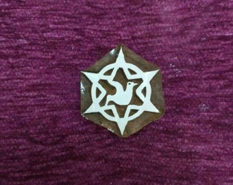 Hand carved wooden stamp, pottery stamp, textile stamps, soap stamp, tjaps - Dove in Star of david