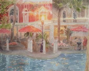 Evening at the café - Original artwork realistic fine art