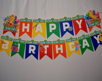 Sesame Street / Elmo Birthday Banner / Cookie Monster / Elmo backdrop / Elmo centerpiece / Sesame Street backdrop / Sesame Street decoration