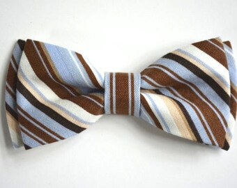 boys bow tie,blue brown stripes cotton,bow ties for boys,kids accessories