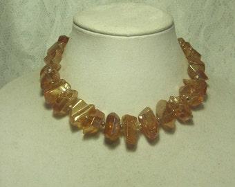 """Cynthia Lynn """"CLASSIC ROCK"""" Polished Champagne Quartz Crystal Nugget Necklace 15-18"""""""