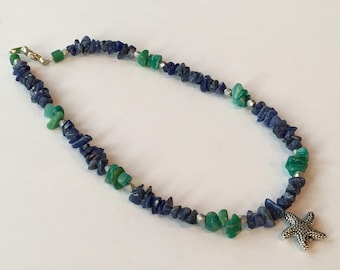 Starfish Anklet with Amazonite and Sodalite gemstones