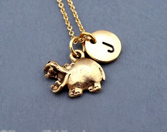 Hippopotamus charm, hippo necklace, initial necklace, initial hand stamped, personalized, antique gold, monogram