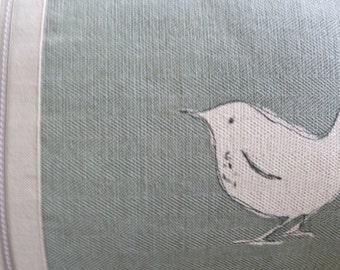 hand printed  little eau de nil wren cushion