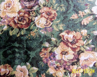 Beautiful Dark Green Fabric with a Floral Design, Vintage