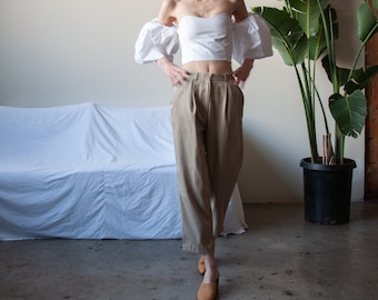 pleated cropped khaki trousers / pleated waist trousers / beige pants / US 4P / 25 waist / 3554t / B15