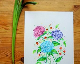 Hydrangeas - Original Watercolour Floral Painting Illustration - A4