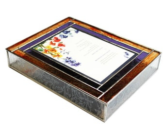 Stained Glass Keepsake Wedding Invitation Box in Fire Reds, Purple and Clear Glue Chip Glass
