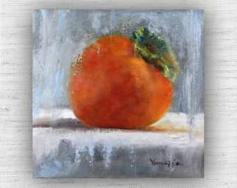 Persimmon - Art Print of Painting - Large Wall Art Print on Wood Block