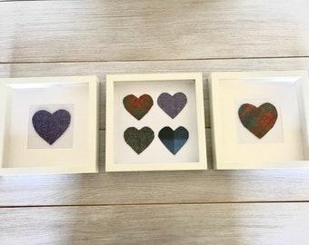 Framed Harris Tweed Hearts