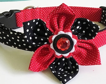 Red & Black Polka Dot Flower Collar for Girl Dogs and Cats