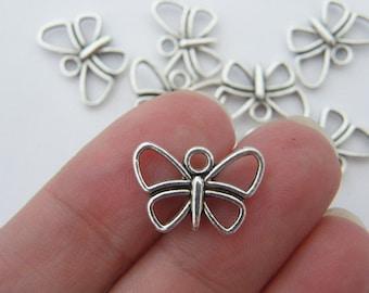 BULK 50 Butterfly charms tibetan silver A335