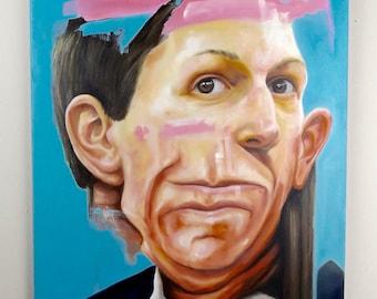 Original Untitled Surreal Portrait Oil Painting