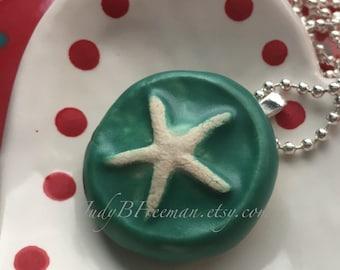 Pendant Stoneware Starfish Ceramic Satin Teal Necklace Ready to Ship Great Stocking Stuffer PNT0020
