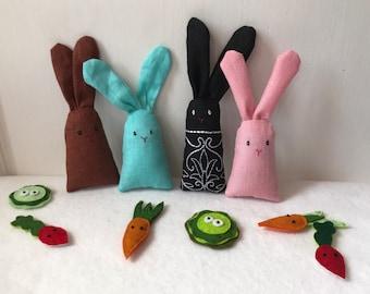 More Bonnie Bunnies, happy linen bunnies, dream pillow rabbits, lavender sachets