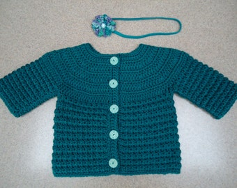 Baby Girl Sweater / Cardigan and Matching Headband in Teal Blue - Hand Crocheted - 12-24 months